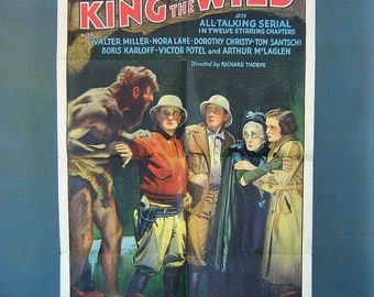 1930s Movie Poster Boris Karloff King of the Wild The Pit of Peril Vintage Home Theater Decor