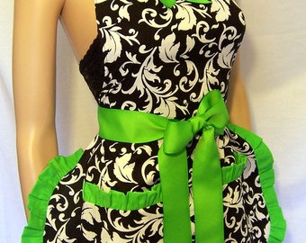 Damask Florentine  Apron Black and White, ALL COLORS, Scotch Guarded