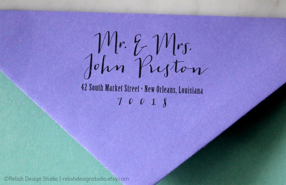Calligraphy Return Address Stamp 126 - Personalized Wedding Stamp, Custom Personalized Couple Stamp, Gift for Newlyweds
