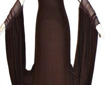 JEAN PAUL GAULTIER Femme Vintage Dress Brown Draped Crepe Chiffon Gown - Authentic -