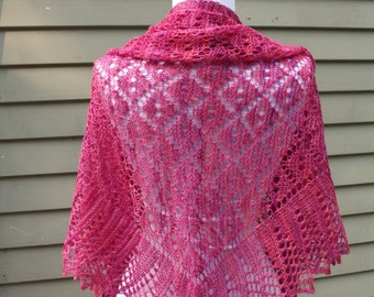 Knitted Shawl, Lace,  Triangular, Traditional Dimond Lace, Pink