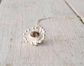 Smoky Quartz Flower Necklace, Delicate Sterling Silver Gemstone Pendant and Chain, Coffee Brown Gemstone, Smoky Quartz Jewelry