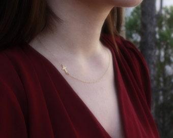 Tiny Gold Sideways Cross Necklace - Choker . Off Center . 24K Gold Dipped Cross