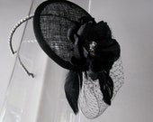 Black Crystal Feather Flower Sinamay Fascinator Hat with Veil and Crystal Headband, for weddings, evening, parties, special occasions