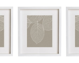West Elm Leaf 3 Prints Gray Taupe Wall Art - Set of Three Prints