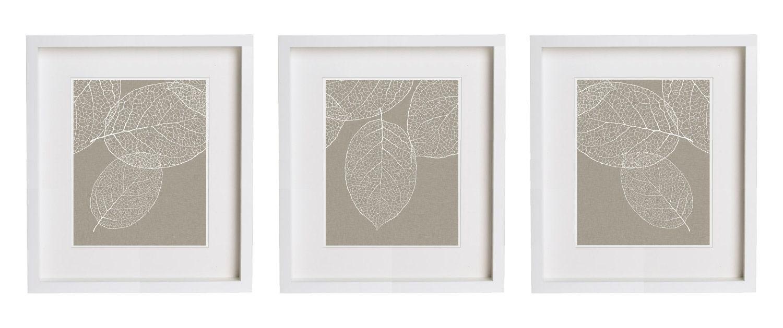 west elm leaf 3 prints gray taupe wall art set of three. Black Bedroom Furniture Sets. Home Design Ideas