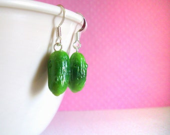 Polymer Clay Jewelry Pickle Earrings, Funny Handmade Earrings, Polymer Clay Food, Miniature Food, Funny Food, Jewelry Gift for Her
