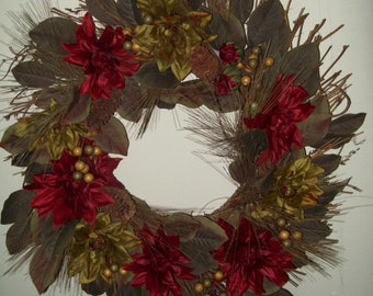 Holiday Natural Twig Wreath Gold and Red Flowers and Berries and Green Leaves