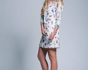 Size 6 AU. Size 2 US. Summer Dress Norwegian Forest Bird Print Shift