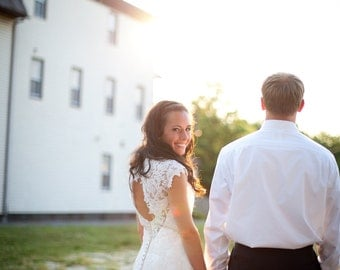 Lace Wedding Dress with Keyhole Back and Cap Sleeves Custom handmade to your Measurements