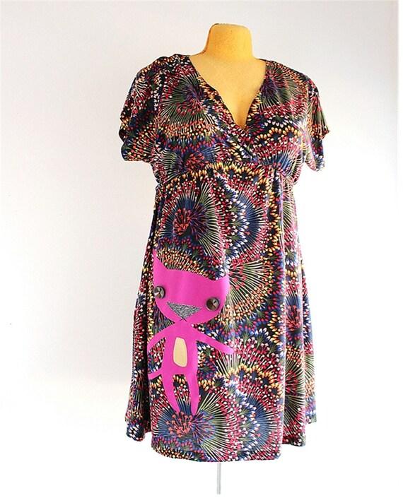 cat dress - plus size 2 womens upcycled clothing - knit dress