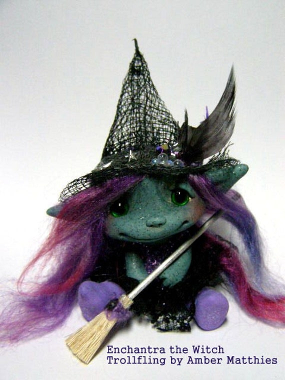 "OOAK Trollfling Troll Witch doll ""Enchantra"" by Amber Matthies"