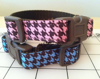 Pink or Blue and Brown Houndstooth Dog Collar Size Medium