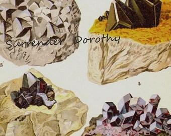 Chalcoyrite Smaltite Tetrahedrite Pyrargyrite Proustite Crystal Stone Mineral Vintage Lithograph Edwardian Geology Print To Frame 8