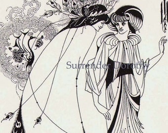 Peacock Skirt Salome by Oscar Wilde Aubrey Beardsley Vintage 1893 Victorian Era Illustration
