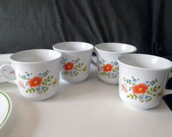 Wildflower Mugs Corning Vintage 1970s Coffee Cups Set Of Four For Your Retro Kitchen USA