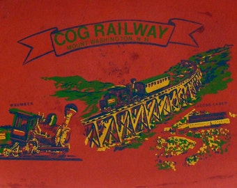 Cog Railway New Hampshire USA Platter 1950s Classic 18 Inch Tray Red Green & Black Souvenir Kitsch Mount Washington