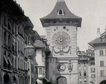 Zytglogge Clock Tower Bern Switzerland  Medieval Architecture Vintage Victorian 1890 Rotogravure Photo Illustration To Frame
