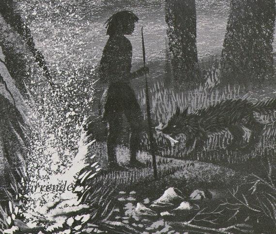 caveman meets dog vintage childrens natural history