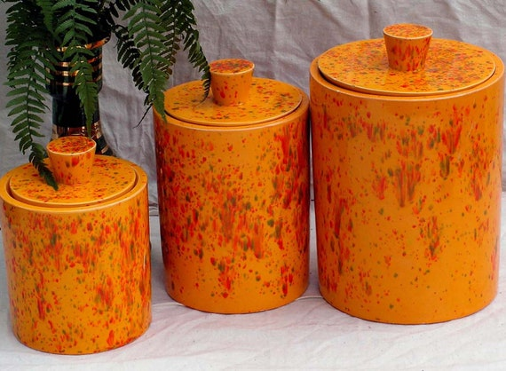 vintage canister set orange speckle spatter retro 1970s