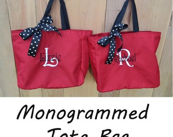 5 Personalized Bridesmaid Gift Tote Bags- Wedding Party Gift- Bridal Party Gift- Initial Tote- Mother of the Bride Gift