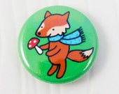 Fox with a Mushroom and Scarf One Inch Button