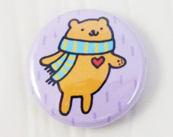 Bear with a Scarf Button