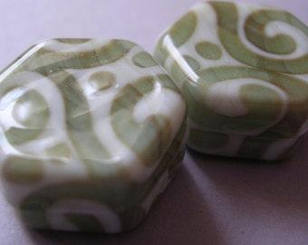 Lampwork Glass Ivory Green Beads Handmade Ericabeads Mystery Hex (2)