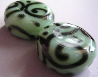 Lampwork Beads Green Handmade Glass Pale Minty Green Lozenges (2)