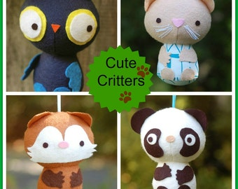Cute Critters - Easy PDF Sewing Pattern With Step-By-Step Photos and Full-Sized Templates