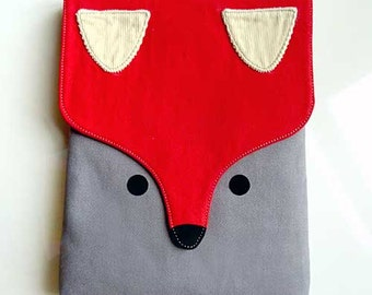 iPad Cover, iPad Sleeve, iPad Case, Tablet Cover, Tablet Sleeve, Tablet Case, FOX Pouch, Fox Case, Fox Cover, Fox Sleeve, RED GRAY Color