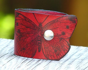 Women's Red Leather Wristband Bracelet Cuff with Butterflies