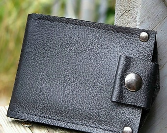 Men's Leather Wallet - Slim Jim Bifold Money Clip --- Black