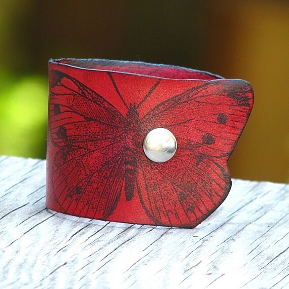 Women's Butterfly Leather Wristband Cuff - Red