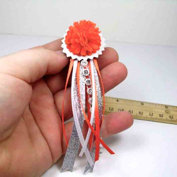 pictures homecoming mum ideas - Miniature Home ing Mum pin or brooch Orange and White