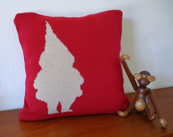 Gnome at Dusk Knit Pillow with Faux Down Insert
