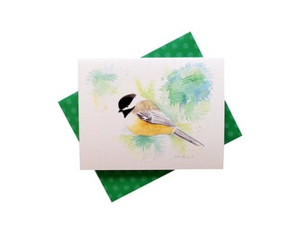 Chickadee Card, winter bird card, Massachusetts state bird, Maine state bird, black-capped chickadee