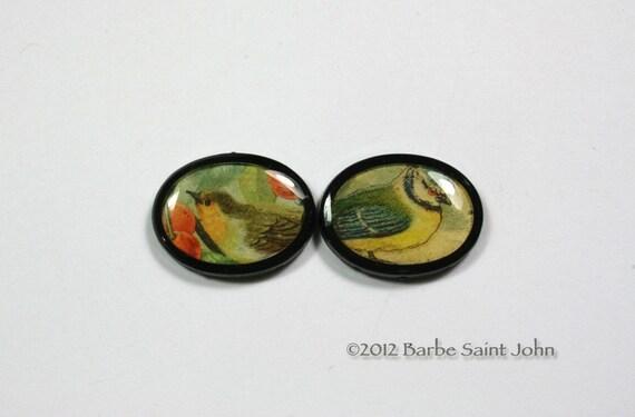 Two Vintage Birds Two Hole Black Lucite Bead  Pendants