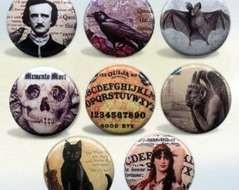 """Gothic Macabre set of 8 magnets 1"""""""