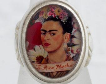 Frida Te Amo Sterling or Bronze Ring (Sizes 5-14 w/ half sizes)