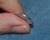 Minimalist  Ring, Fine Silver, .999 Stacker, Hammered Finish, Size 6