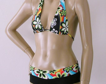 Sliding Halter Bikini Top and Boy Short Bikini Bottom in Rainbow Daisy Print in S.M.L.XL