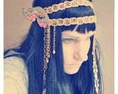 Fairy Queen Headpiece Art Deco with Sequin Wings vintage trims and bead work headdress