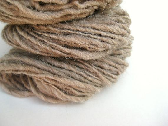 Handspun Yarn - Natural Alpaca - Worsted Single - 80 Yards