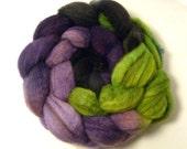 Handdyed Mixed BFL Wool Roving - Spooky - black, purple, green