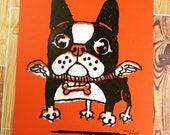 Flying Boston Terrier/French Bulldog Screen Print