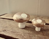 Set of Two Hand Painted Wooden Mushrooms - Glitter/White