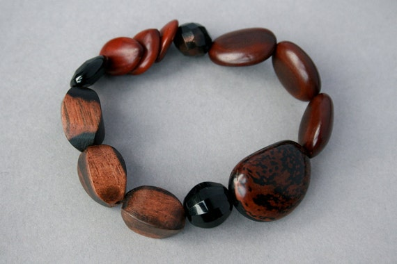 wood bracelet with natural seeds and nuts - natural jewelry - stretch bracelet - eco friendly jewelry