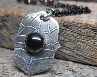 Queen of the Demonweb Pits I necklace ... recycled fine silver spiderweb with onyx bezel