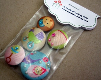 Baby Girl  Fabric Button  Magnets